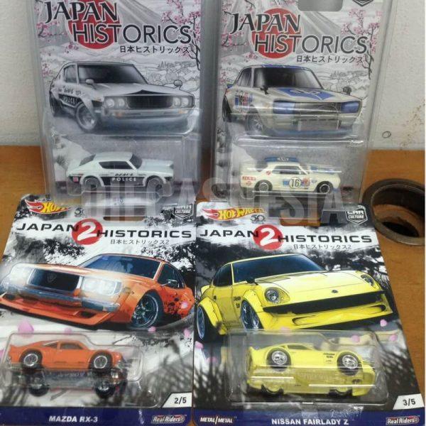 Hot Wheels Japan Historic 2016 Nissan Skyline HT 2000GT-X GT-R Police Nissan Fairlady & Mazda RX-3