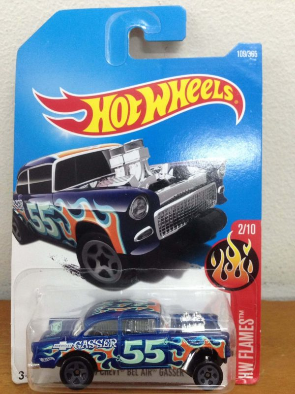 Hot Wheels 55 Chevy Bel Air Gasser blue