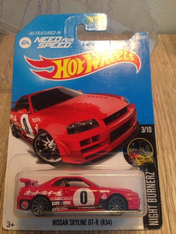 Hot Wheels Langka Nissan Skyline GT-R R34 Need for Speed US Card