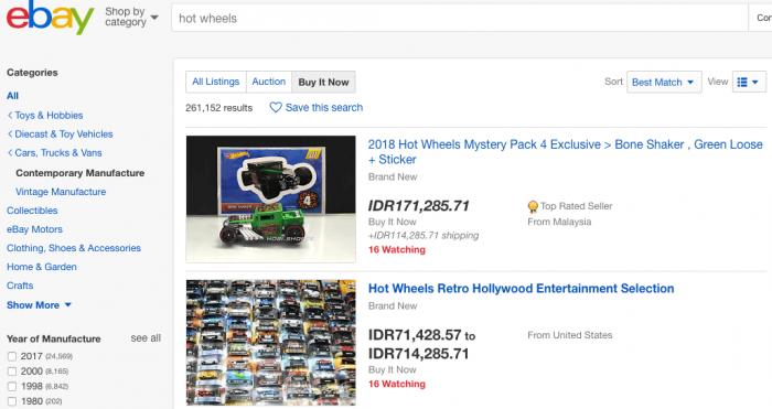 ebay jual beli mobil hot wheels langka