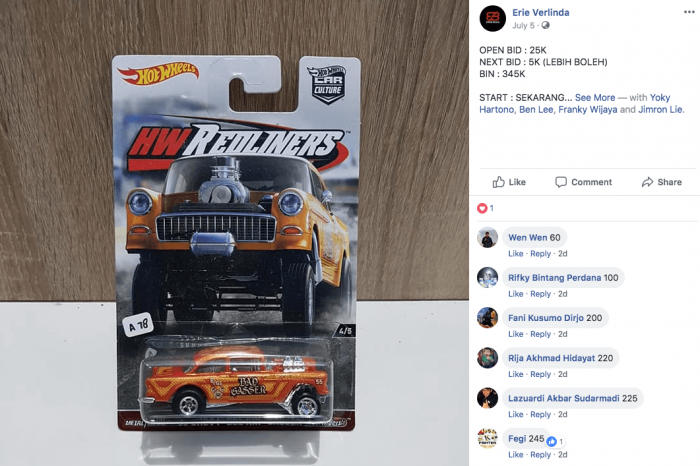 lelang gasser mobil hot wheels langka di facebook