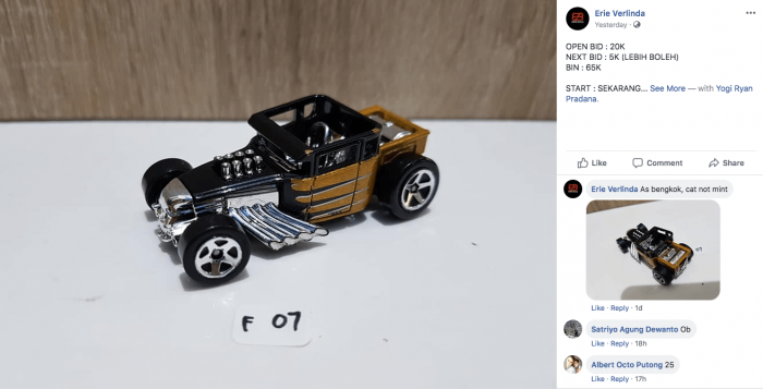 lelang hot wheels langka di facebook