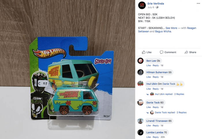 lelang mobil hot wheels langka di facebook