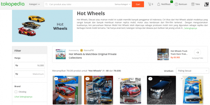 tokopedia jual beli mobil hot wheels langka